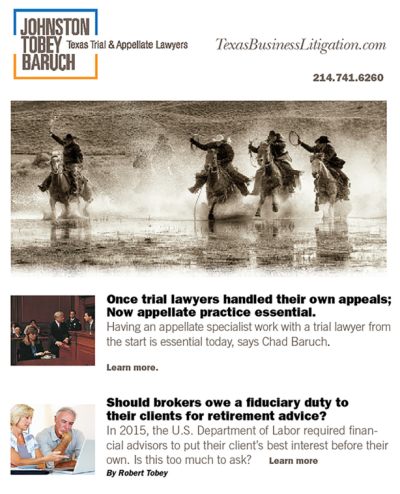 Johnston Tobey Baruch Newsletter